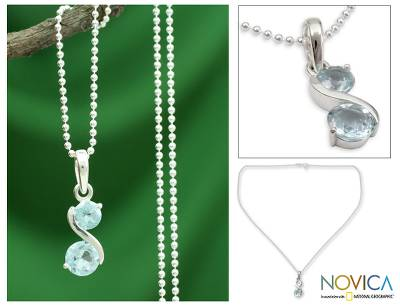 Blue topaz pendant necklace, 'Twin Souls' - Modern India jewellery Blue Topaz and Silver Necklace