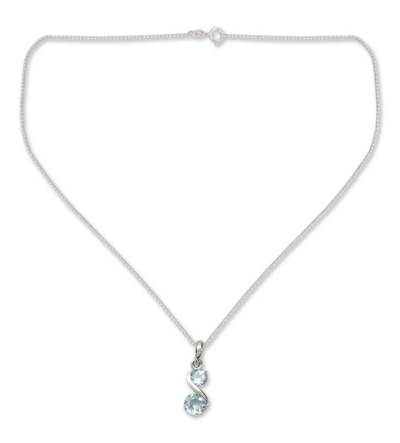 Blue topaz pendant necklace, 'Twin Souls' - Modern India Jewelry Blue Topaz and Silver Necklace
