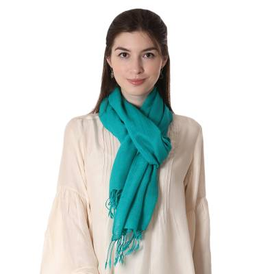 Wool scarf, 'Aqua Warmth' - Women's Wool Scarf from India