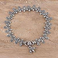 Sterling silver anklet, 'Joyous Dance' - Handcrafted Indian Anklet in Sterling Silver
