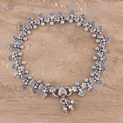 Sterling silver anklet, 'Joyous Dance' - Traditional Indian Anklet jewellery in Sterling Silver