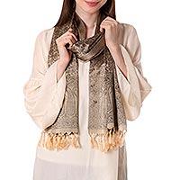 Banarasi silk shawl, 'Golden Olive Dusk' - Banarasi silk shawl