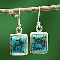 Sterling silver dangle earrings, 'Friendship' - Blue Silver Earrings from Indian Artisan Crafted jewellery