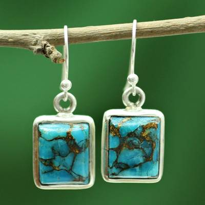 Sterling silver dangle earrings, 'Friendship' - Blue Silver Earrings from Indian Artisan Crafted jewellery