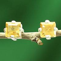 Citrine stud earrings, 'Golden Charm'