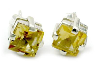 Citrine stud earrings, 'Golden Charm' - Sparkling Citrine Stud Earrings from India