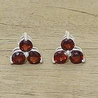 Garnet stud earrings, 'Chennai Stars' - Garnet Stud Earrings from Birthstone Jewelry