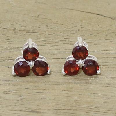 Garnet stud earrings, 'Chennai Stars' - Garnet Stud Earrings from Birthstone Jewelry