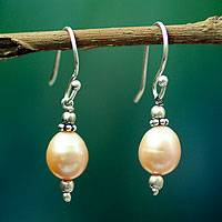 Pearl dangle earrings, 'Dawn Destiny' - Pearl dangle earrings