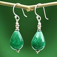 Chalcedony dangle earrings, 'Emerald Dewdrop'