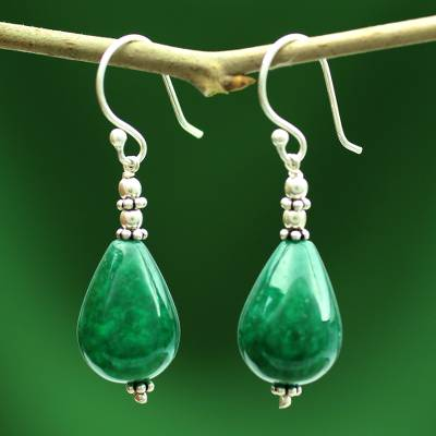 Chalcedony dangle earrings, 'Emerald Dewdrop' - Chalcedony dangle earrings
