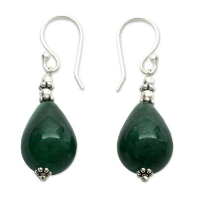 Artisan Made Green Chalcedony Dangle Earrings