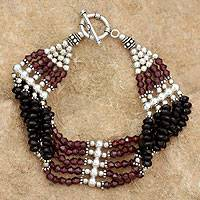 Garnet and onyx wristband bracelet, 'Jaipur Mystique' - Garnet and onyx wristband bracelet