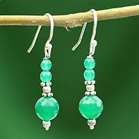 Sterling silver dangle earrings, 'Green Dreams' - Sterling silver dangle earrings