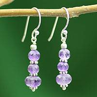 Amethyst dangle earrings, 'Jaipur Lily' - Amethyst dangle earrings