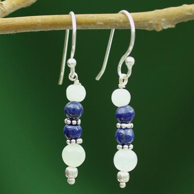 Rainbow moonstone and lapis lazuli dangle earrings, 'Gujarat Skies' - Rainbow Moonstone and Lapis Lazuli Dangle Earrings