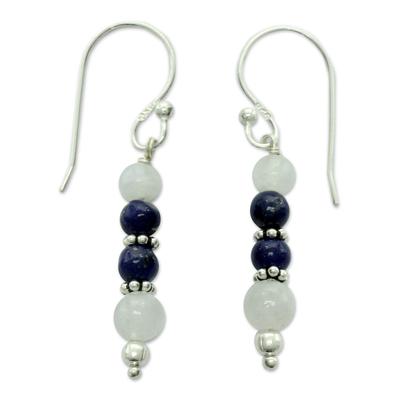Rainbow Moonstone and Lapis Lazuli Dangle Earrings