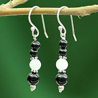Onyx and moonstone dangle earrings, 'Majestic Night' - Onyx and moonstone dangle earrings