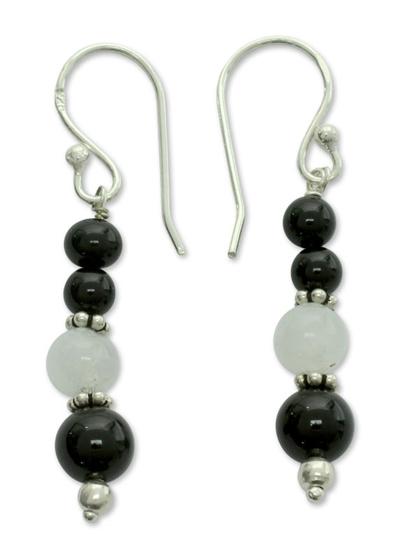 Onyx and moonstone dangle earrings