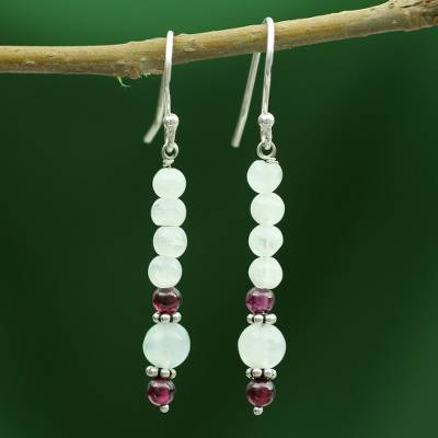 Moonstone and garnet dangle earrings, 'Rajasthan Dancer' - Moonstone and garnet dangle earrings