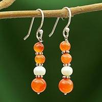 Carnelian and pearl dangle earrings, 'Radiance' - Carnelian and pearl dangle earrings