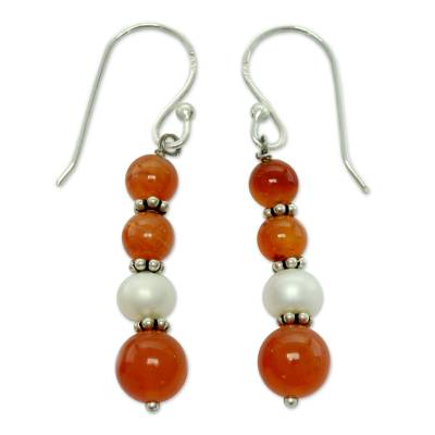 Carnelian and pearl dangle earrings
