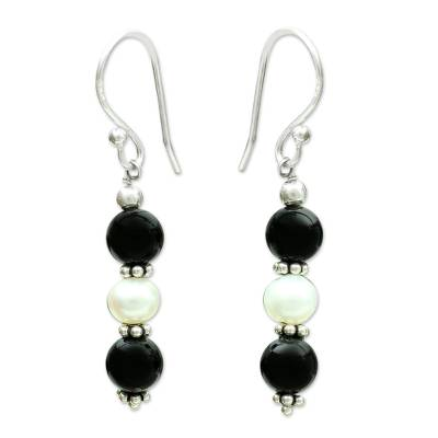 Onyx and pearl dangle earrings