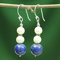 Lapis lazuli and pearl dangle earrings, 'Mystic Truth' - Unique Bright Cobalt and Pearl Earrings from India