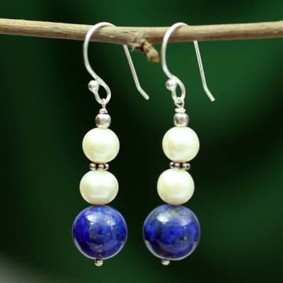Lapis lazuli and pearl dangle earrings, 'Mystic Truth' - Lapis lazuli and pearl dangle earrings
