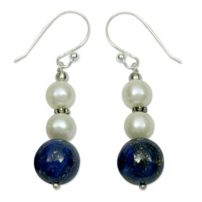 Lapis lazuli and pearl dangle earrings