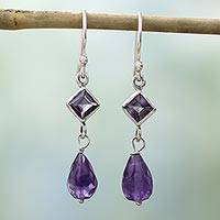 Amethyst dangle earrings, 'Precious Purple' - Sterling Silver and Amethyst Dangle Earrings