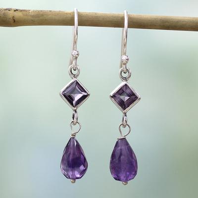 Amethyst dangle earrings, 'Precious Purple' - Sterling Silver and Amethyst Dangle Earrings