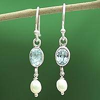 Pearl and blue topaz dangle earrings, 'Sky Voyage' - Pearl and Blue Topaz on Sterling Silver Dangle Earrings