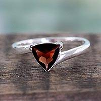 Garnet solitaire ring, 'Scintillating Jaipur' - Indonesian Garnet and Sterling Silver Ring