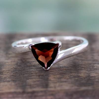 Garnet solitaire ring, 'Scintillating Jaipur' - Garnet Solitaire Ring