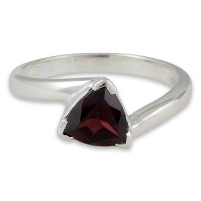 Garnet solitaire ring, 'Scintillating Jaipur' - Garnet Solitaire Ring