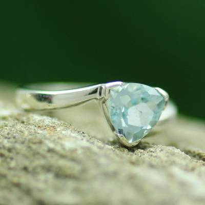 Blue topaz solitaire ring, 'Scintillating Jaipur' - Hand Made Solitaire Blue Topaz Ring in Sterling Silver