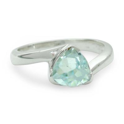 Blue topaz solitaire ring, 'Scintillating Jaipur' - Hand Made Solitaire Blue Topaz Ring in Sterling Silver