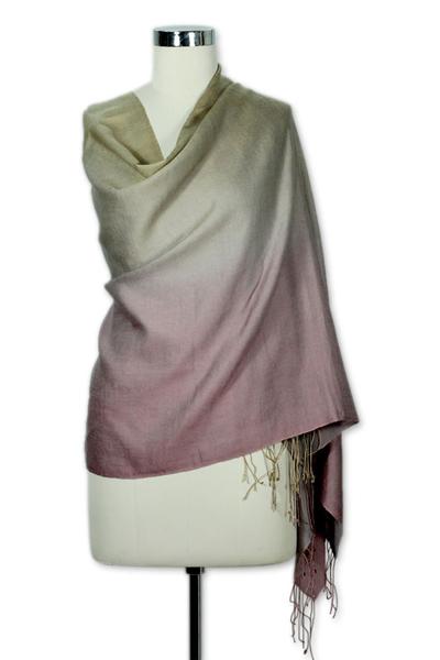 Silk and wool shawl, 'Moss Rose' - Silk and wool shawl
