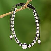 Sterling silver Shambhala-style bracelet, 'Orb' - Indian Sterling Silver Bracelet