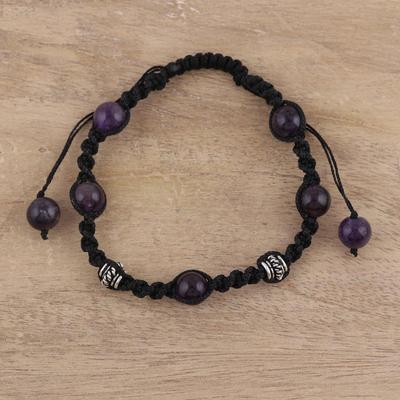 Amethyst Shambhala-style bracelet, 'Violet Peace' - Handmade Amethyst Shambhala-style Bracelet from India