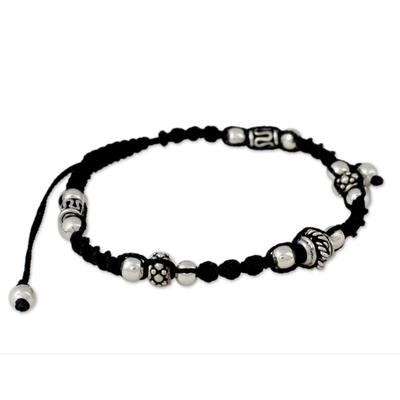 Sterling silver Shambhala-style bracelet, 'Jaipur Tranquility' - Artisan Crafted Shambhala-style Bracelet with Silver Beads