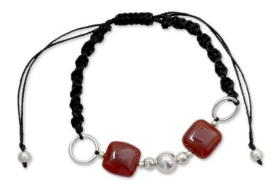 Onyx with Silver Shamballa Bracelet Handmade in India