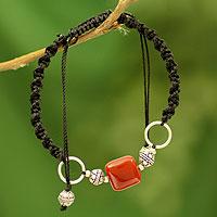 Onyx Shambhala-style bracelet, 'Pure Happiness' - Sterling Silver Shambhala-style Onyx Bracelet from India