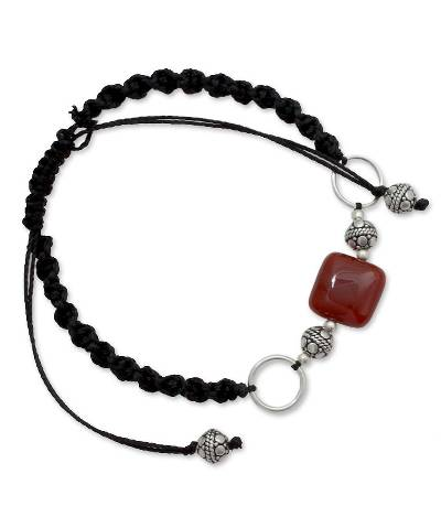 Sterling Silver Shamballa Onyx Bracelet from India