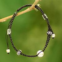 Sterling silver Shambhala-style bracelet, 'Sonnets of Peace' - Shambhala-style Bracelet Hand Crafted with Silver Beads