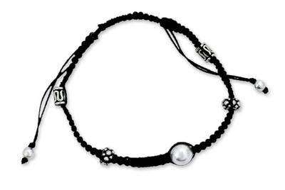 Shambhala-style Bracelet Hand Crafted with Silver Beads