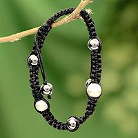 Hematite Shambhala-style bracelet, 'Mumbai Night' - Shambhala-style Hematite Bracelet with Sterling Silver Beads