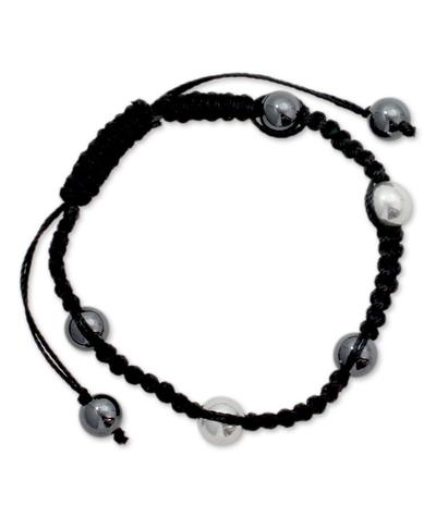 Shamballa Hematite Bracelet with Sterling Silver Beads