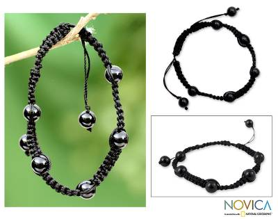 Onyx Shambhala-style bracelet, 'Night of Peace' - Onyx Shambhala-style Bracelet Handmade in India